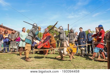 St. Petersburg Russia - 28 May, Battle of the ancient Vikings in armor, 28 May, 2017. Knight tournament at the festival of ancient Vikings in St. Petersburg.