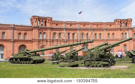 St. Petersburg Russia - 28 May, Long-range artillery systems , 28 May, 2017. Military History Museum of combat equipment in St. Petersburg.