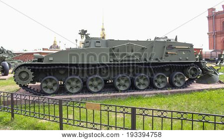 St. Petersburg Russia - 28 May, Crawler mine protector GM-3 of the 1960 model, 28 May, 2017. Military History Museum of combat equipment in St. Petersburg.