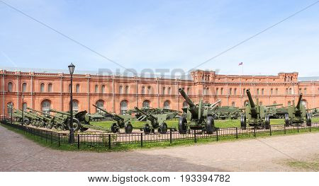 St. Petersburg Russia - 28 May, Artillery on the site of the military-historical museum, 28 May, 2017. Military History Museum of combat equipment in St. Petersburg.