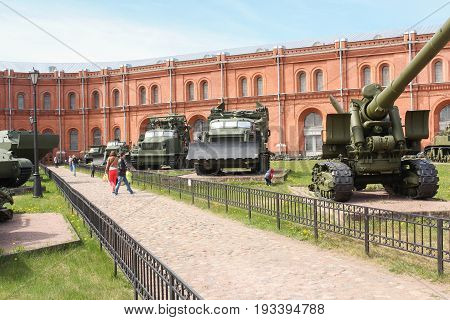 St. Petersburg Russia - 28 May, Alley of heavy military equipment, 28 May, 2017. Military History Museum of combat equipment in St. Petersburg.