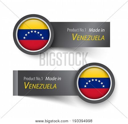 Flag icon and label with text made in Venezuela .