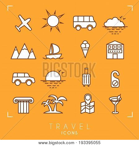 Travel and vacation icons set. Airplane sun bus horizon mountains yacht hotel car luggage do not disturb message column palms map cocktail and ice cream.