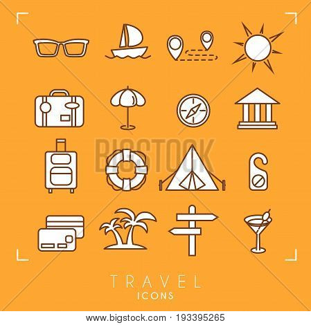 Travel and vacation icons set. Sunglasses yacht route sun suitcase umbrella museum luggage lifebuoy camping tent message money card palms arrows cocktail.