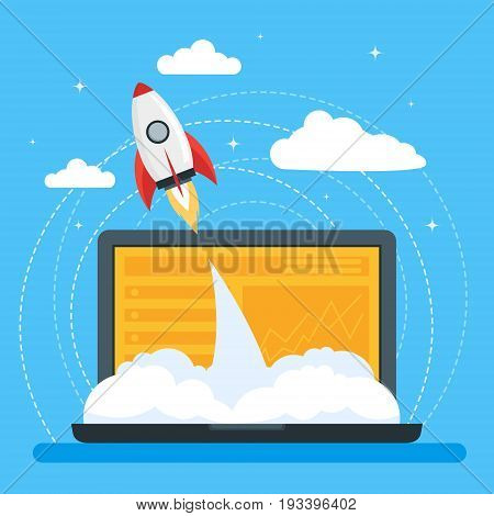 Cartoon Symbol Start Up Concept Space Ship Rocket and Gadget Promotion, Strategy and Organization Flat Style Design. Vector illustration
