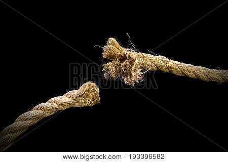 Closeup Of Thick Rope Cut And Frayed, Freedom And Danger Concepts