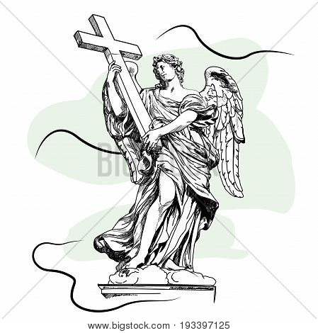 Sketch digital drawing of marble statue of angel (with cross) from the Sant'Angelo Bridge in Rome Italy Vector illustration