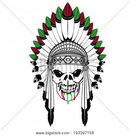 Ritual skull with Indian feather and blood