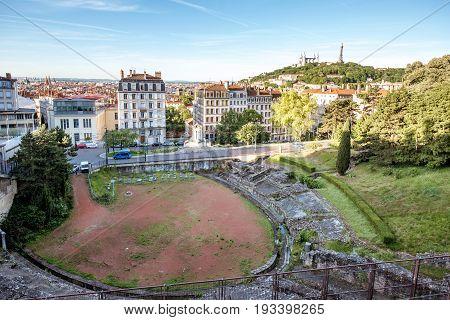 Cityscape view with amphitheatre des Trois-Gaules in Lyon, France