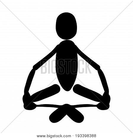 Man Sitting In Lotus Position Meditating Logo Vector Illustration