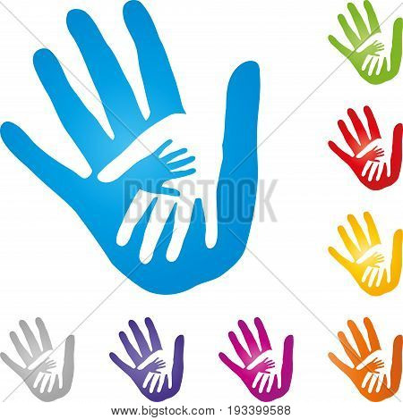 Three hands together, hands and people logo