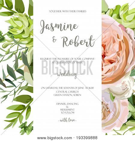 Wedding invitation floral invite card with pink garden rose green succulent cactus flowers seasonal plants mix. Romantic Template. Vector anniversary design. Elegant cute background isolated white