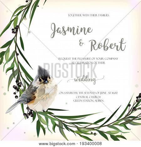 Eucalyptus Leaves circle round green leaf wreath of branch Agonis branches Privet berries with tufted titmouse winter bird beautiful lovely elegant watercolor vector illustration isolated background