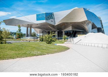 LYON, FRANCE - May 21, 2017: Musee des Confluences is a science and anthropology museum which opened on 20 December 2014 at the confluence of Rhone in Lyon France