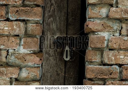 Old wooden door behind the brick wall niche. Every difficult problem always has solution.