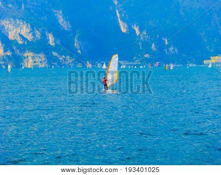 Torbole - A windsurfing on Lake Garda in Torbole