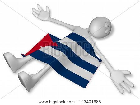 dead cartoon guy and flag of cuba - 3d illustration