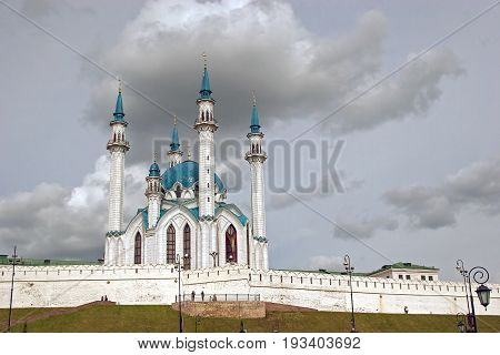 Beautiful City Mosque On A Background Of Clouds
