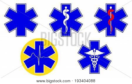 Medical international symbols set. Star of life staff of Asclepius caduceus Vector illustration.