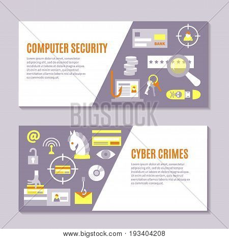 Hacking and cyber crime - horizontal vector banner templates with icons of gadgets and hacker's activities, title and place for your text. Flat style. For web and paper ads. Hacker attack illustration