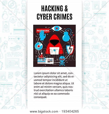Computer security and hacking. Vector template with hacker's activity illustration, title and place for your text. Flat style. For web and paper advertising. PC safety illustration.