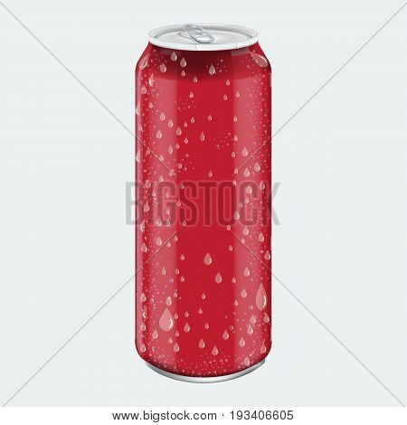 Red Metal Aluminum Beverage Drink with water drops. Mockup for Product Packaging. Energetic Drink Can 500ml, 0, 5L. Illustrated vector