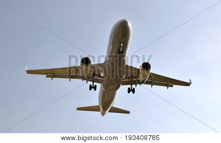 Passengers' commercial Planes preparing itself to land in airport of Barcelona Spain