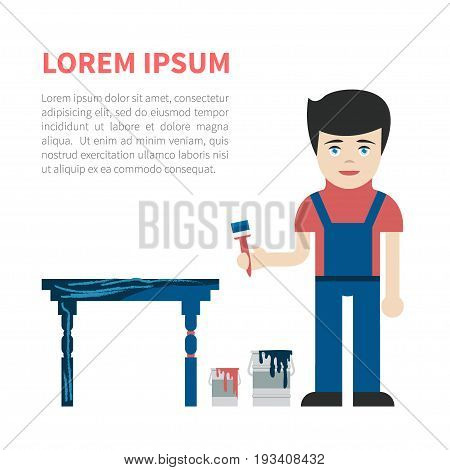 Young caucasian handyman in overall holding a brush, renewing and painting the old table. Vector illustration isolated on white. Concept for furniture repairing, restoring business.