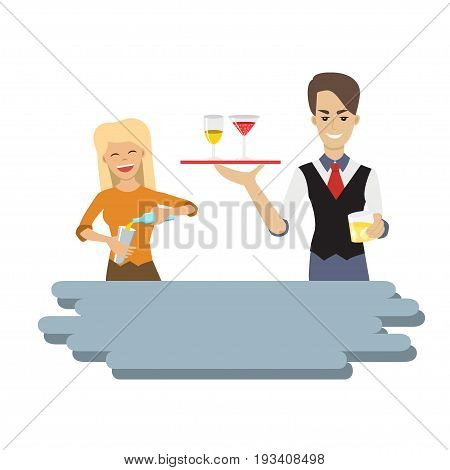 Vector illustration of hipster female and male bartenders holding a tray with alcohol drink and pouring drink in the glass. Cartoon character. Flat style. Waiter and waitress.