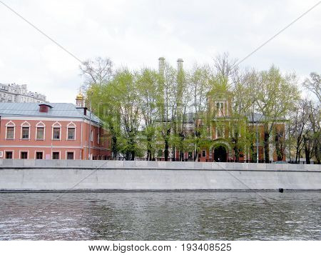 The Bersenevskaya Quay on Moscow River in Moscow Russia