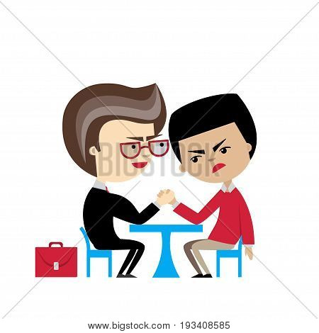 Two cartoon businessmen engaged in an arm wrestle. Vector illustration. Flat design. Business competition concept. Struggle between rivals. Metaphor of trial, compete, rivalry,  duel, contention.