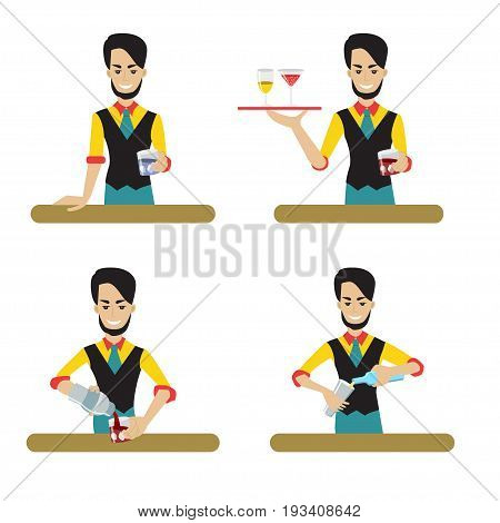 Set of male bartender character serving the alcohol. Vector illustration, flat style.Young man the barkeeper holding the tray with the glasses and pouring the drinks.