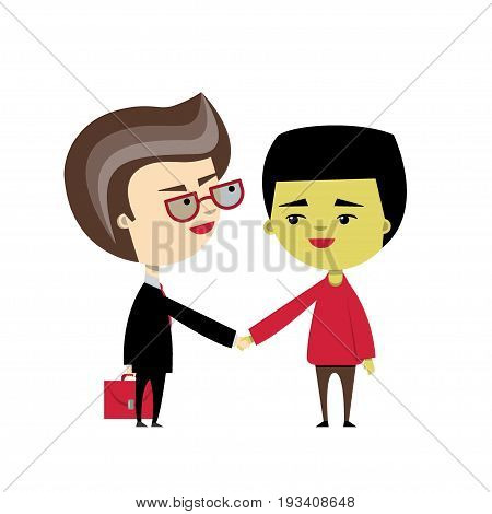 A caucasian businessmen shakes hand of his asian client. Vector illustration, flat design. Cartoon character. Concept of dealing, partnership, multicultural business partners, legal services.