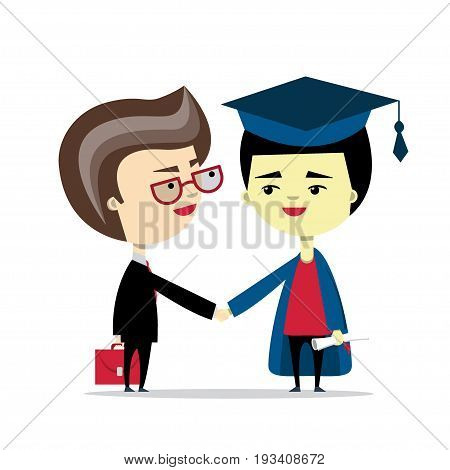 A businessman and a graduate handshake. Vector illustration, flat design. Concept of education, college degree, employment, making the carrier, upgrading the skills, getting diploma or certificate.