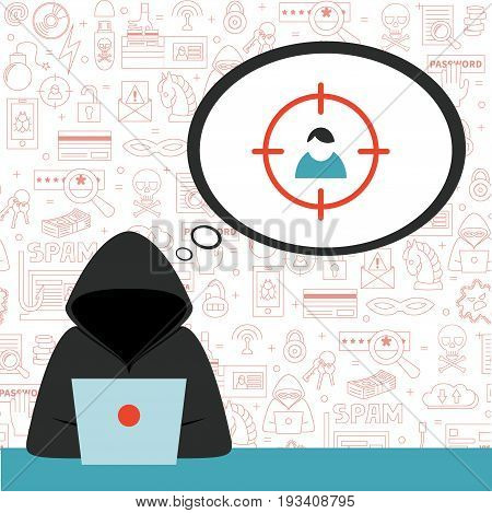 Hacker wearing hoodie with speech bubble and criminal thoughts. Vector illustration, flat style. Concept for hacking, intruding, crime figure, identity theft.