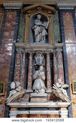ROME, ITALY - SEPTEMBER 02: Funerary memorials  in church Gesu e Maria in Rome, Italy on September 02, 2016.
