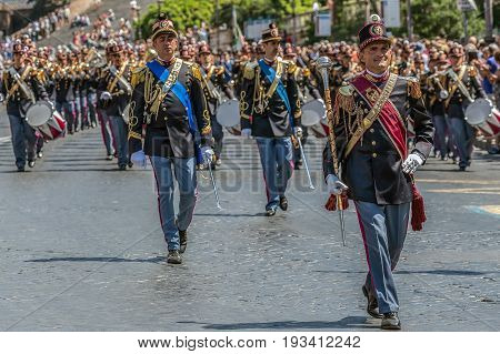 ROME ITALY - JUNE 2 2017: Military parade at Italian National Day. Commanders in front. Picture is taken between Piazza Venezia and Teatro di Marcello.