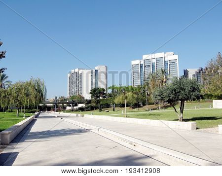 Parkway of the Dahan Park in Bar-Ilan University near Ramat Gan Israel