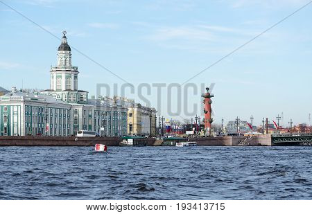 Building of Kunstkamera (Museum of Anthropology and Ethnography named after Peter the Great of Russian Academy of Sciences) and Spit of Vasilyevsky Island St. Petersburg Russia