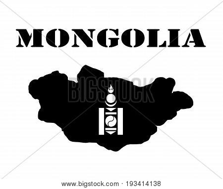 Black silhouette of a card and white silhouette of a Mongolia symbol