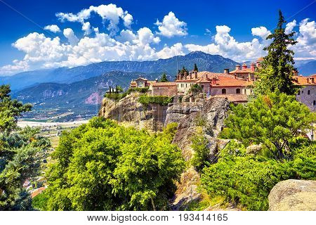 St. Stephen's Monastery And Beautiful Landscapes Of Meteora And