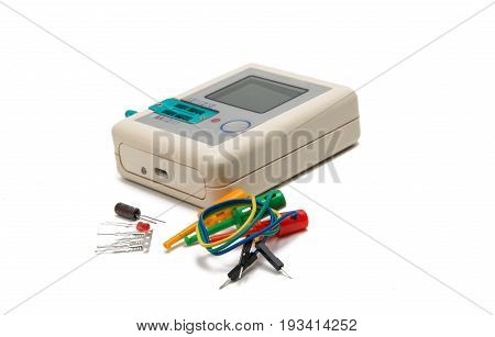 Tester electronic technology isolated on white background