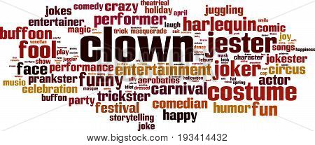 Clown word cloud concept. Vector illustration on white