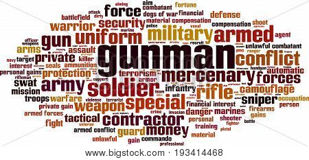 Gunman word cloud concept. Vector illustration on white