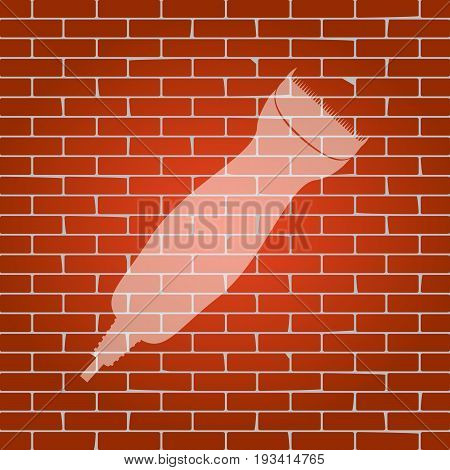 Clipper sign illustration. Vector. Whitish icon on brick wall as background.