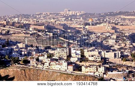 Panorama of Old City from Haas Promenade in JerusalemIsrael