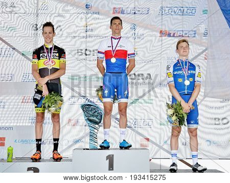 ZIAR NAD HRONOM, SLOVAKIA - JUNE 26, 2017: The Slovak and Czech National road cycling championship. Elite category medail ceremony. Petr Vakoc and Zdenek Stybar