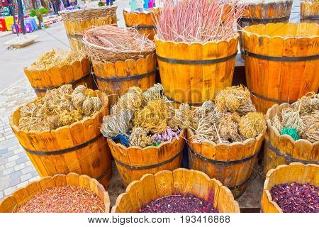 Baskets with spicery on east bazaar at at Sharm El Sheikh, Egypt