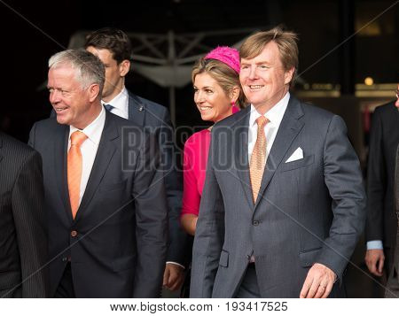 DRONTEN, NETHERLANDS - 29 JUNE 2017: King Willem-Alexander en Queen Maxima of the Netherlands leave De Meerpaal in Dronten after their regional visit to the province of Flevoland