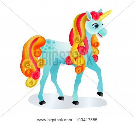 Cute cartoon unicorn with colorful mane and tail. Isolated image on white. Vector illustration.